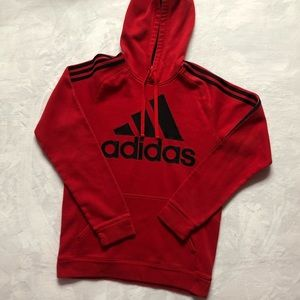 Men's Adidas Red & Black Striped Hoodie Small